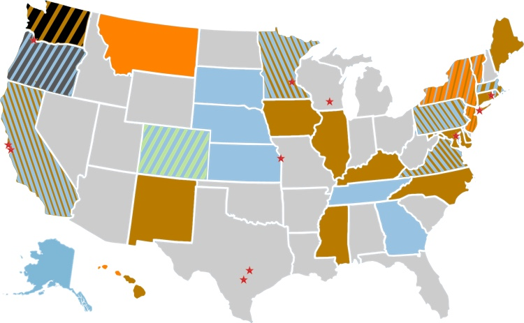 Black = state law passed protecting net neutrality; Orange = Executive Order signed by state governor to protect net neutrality; Dark Gray = net neutrality bill successfully passed both state legislative chambers; Blue = net neutrality bill introduced into legislature; Brown = state attorney general filing suit against the FCC; Green = 100+ municipalities approve taxpayer-funded ISPs; Red Star = mayor is a member of Mayors for Net Neutrality Coalition.