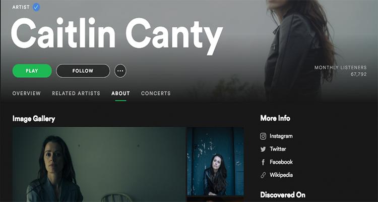 Caitliln Canty Spotify Artist Profile
