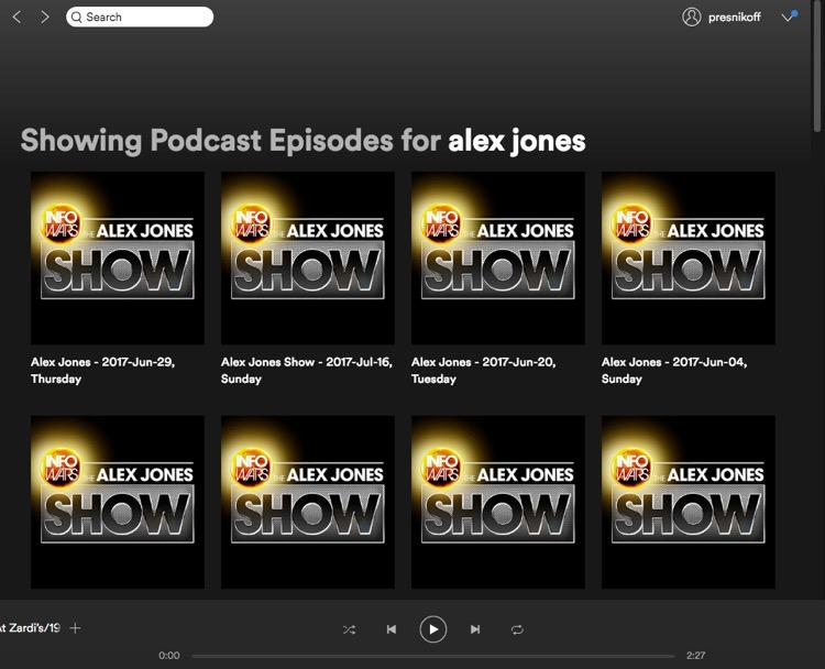 Alex Jones' InfoWars podcast on Spotify's platform, August 2nd.