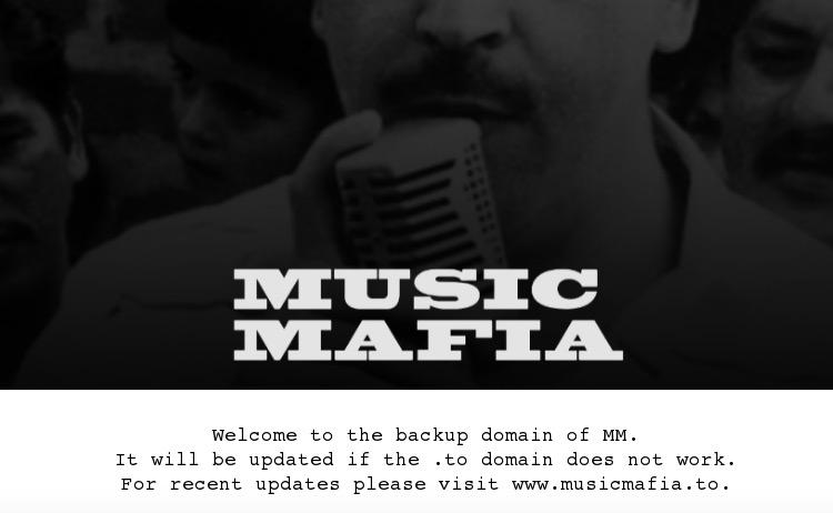 A screengrab of Music Mafia's back-up destination, musicmafia.biz (August 20th)