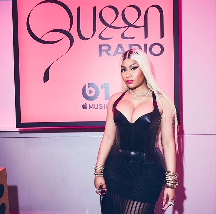 Nicki Minaj during a visit to Apple Music's Beats 1 Radio. The artist kicked off her release push for her latest album, Queen, during a Beats 1 interview.