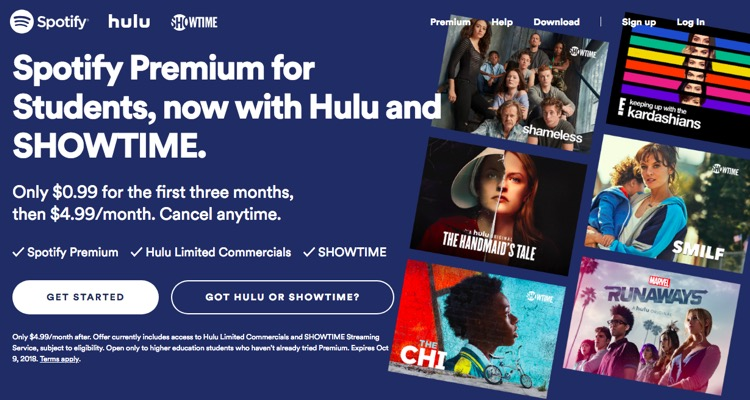 Spotify's College Hulu Bundle Drops to 99-Cents for the First Three Months