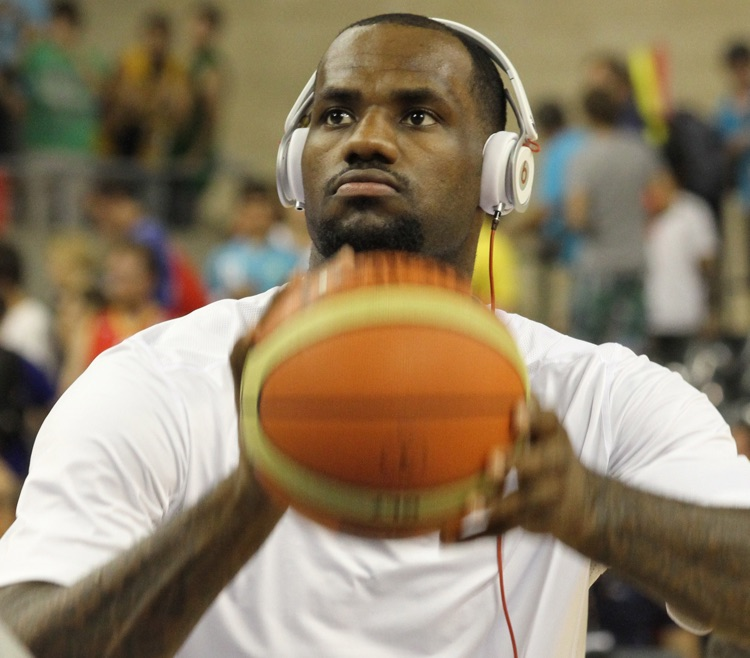 NBA superstar Lebron James sporting Beats by Dre headphones during a warm-up session.