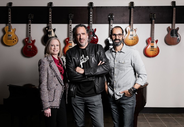 Gibson Guitar's post-bankruptcy leadership (l to r): Kim Mattoon (Chief Financial Officer); JC Curleigh (Chief Executive Officer); Cesar Gueikian, (Chief Merchant Officer) (photo: Gibson Brands, Inc.)