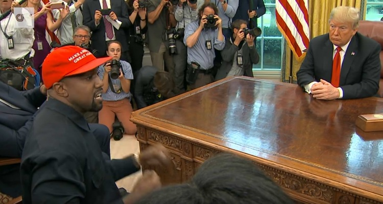 Kanye West meets with Donald Trump in October 2018, just prior to the signing of the Music Modernization Act into law.