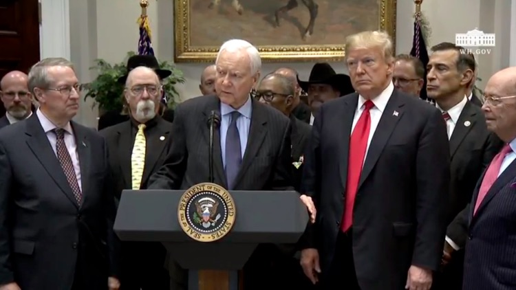 Senator Orrin Hatch (R-Utah) and President Trump during the official signing ceremony of the Music Modernization Act In October, 2018. Implementation details have since become complicated.