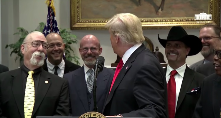 Donald Trump signs the Music Modernization Act at the White House in October.