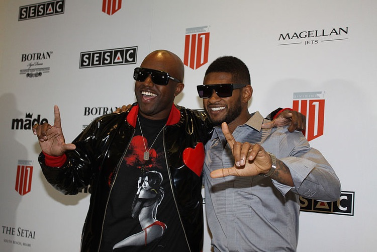 Songwriter Daniel Marino poses with Usher.
