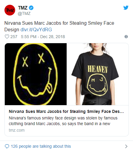 99522f4f7 Nirvana Sues Marc Jacobs for Stealing Its 'Smiley Face' Design