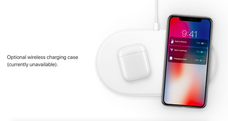 Apple's original marketing image of the AirPower mat, which includes a AirPods wireless charging case.