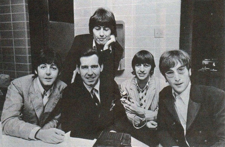 WCFL Sound 10 Survey, October 1966, featuring Jim Stagg with the Beatles (photo: WCFL, public domain)