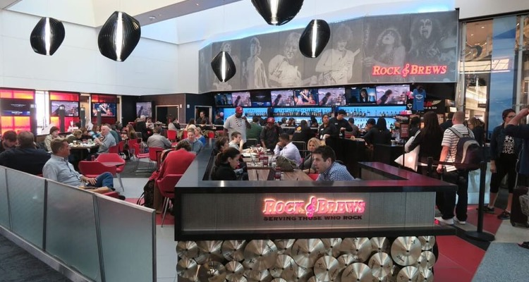 Rock & Brews at LAX Terminal 1, owned by KISS members Paul Stanley and Gene Simmons