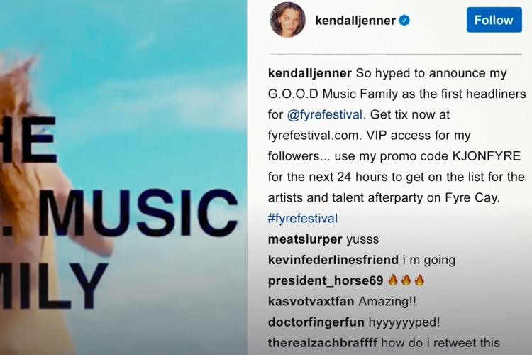 The now-infamous Instagram posted from Kendall Jenner promoting Fyre Festival, as presented in the Hulu documentary, Fyre Fraud. Jenner was paid $250,000 for the post, but didn't tell followers it was paid.