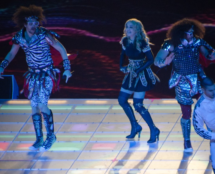 LMFAO and Madonna Perform at Super Bowl XLVI in 2012 (photo: Steven Luke CC 2.0)