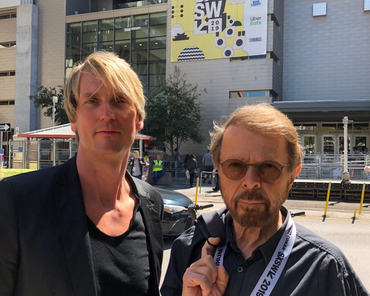 Session CEO Niclas Molinder (l) with ABBA member and Session co-founder Bjorn Ulvaeus (r) at SXSW.