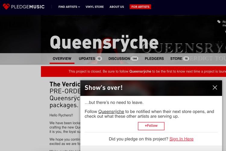 Queensrÿche's now-defunct PledgeMusic crowdfunding page.