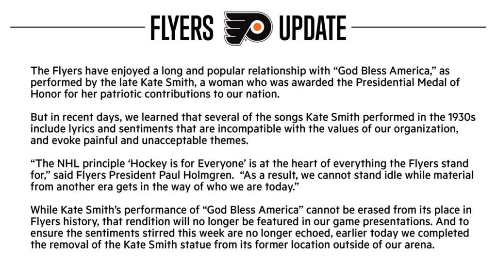 Philadelphia Flyers Remove Kate Smith Statue Over Racist Songs