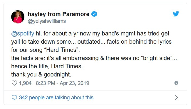 Hayley of Paramore Blasts Spotify's Genius for Posting 'Lies'