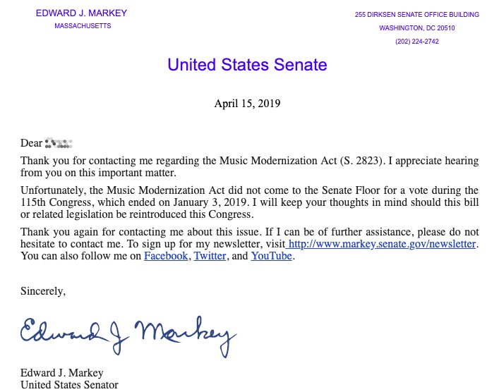 Sen. Ed Markey Doesn't Quite Remember Signing the Music Modernization Act