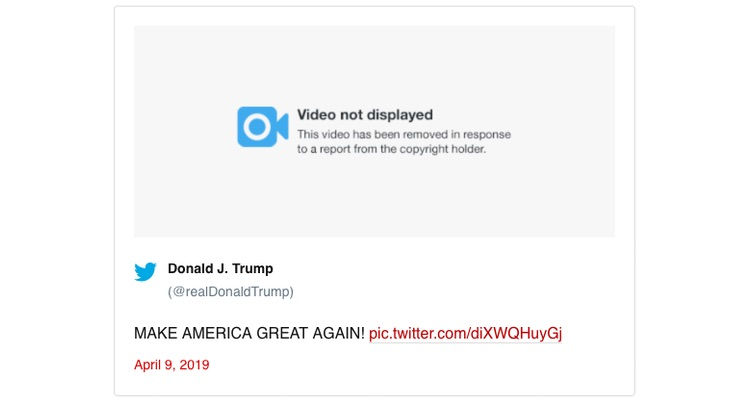 What remains of Trump's April 9th tweet.