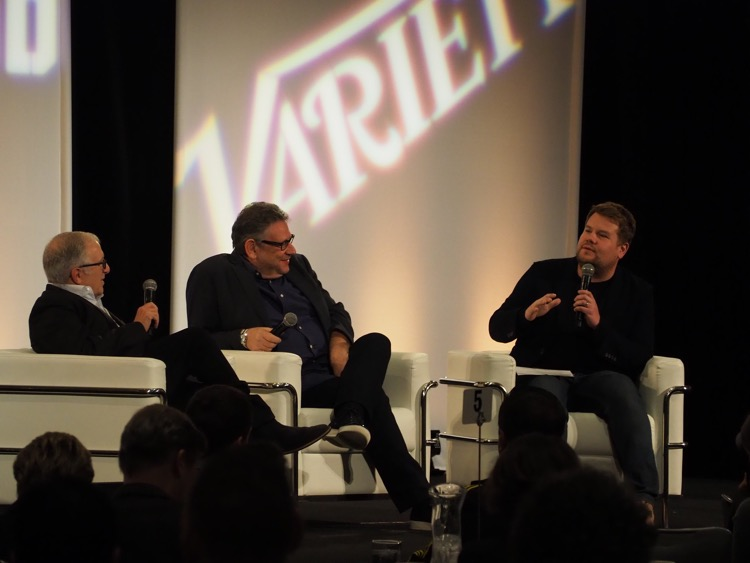 Universal Music Group Chairman/CEO Lucian Grainge (center) with Irving Azoff (l) and James Corden (r) at the Hollywood Chamber of Commerce's State of the Entertainment Industry in 2018. Grainge has remained quiet as the crisis surrounding the 2008 Universal Studios fire grows.
