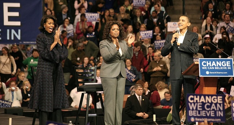The Obamas on the campaign trail with Oprah Winfrey, 2007. All three are now podcasters.