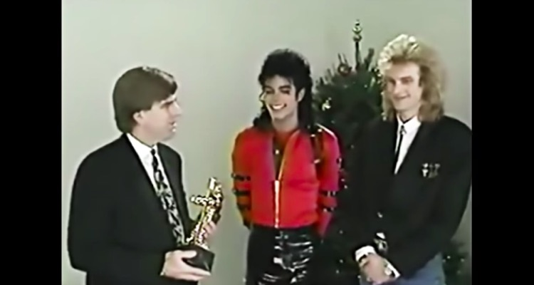 Michael Jackson receives the MTV Video Vanguard award in 1989.