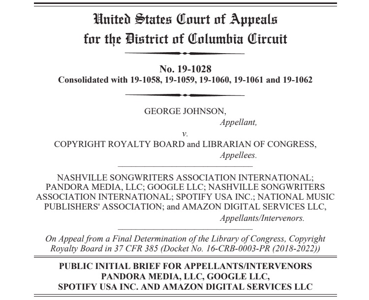 Cover page of Appelate Brief by streaming music services Spotify, Pandora, Google, Amazon