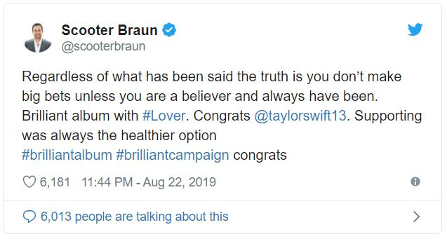 Despite Getting Broiled, Scooter Braun Offers High Praise For Taylor Swift