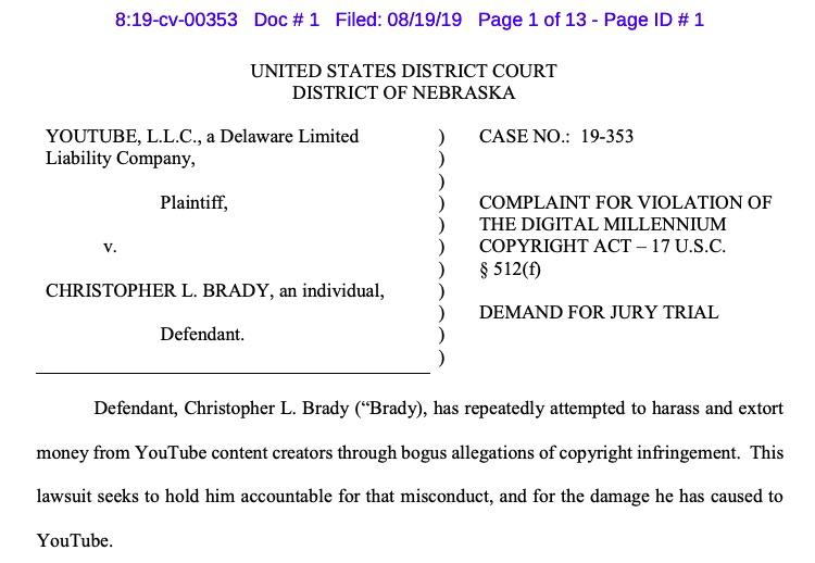YouTube's filing against Christoper Brady.