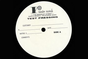 An old test-pressing label from LA-based Rainbo Records