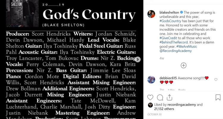 Blake Shelton God's Country Music Credits