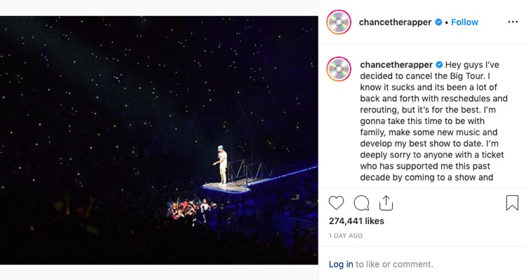 Chance the Rapper officially cancels his 'Big Tour' on Instagram