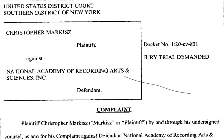 Christopher Markisz lawsuit against NARAS over a Snoop Dogg photograph