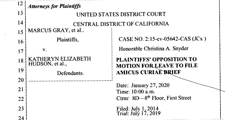 Latest legal filing in Marcus Gray et. al v. Katheryn Elizabeth Hudson (aka Katy Perry) et. al.