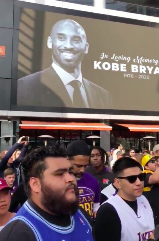 Fans celebrate the life of Kobe Bryant outside Staples Center in Los Angeles, site of the 62nd Annual Grammy Awards.
