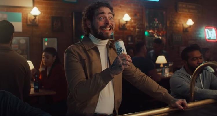 Post Malone in Bud Light's Mango Seltzer Super Bowl spot.