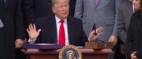 President Trump signs the USCMCA on the South Lawn of the White House, January 29th, 2020.