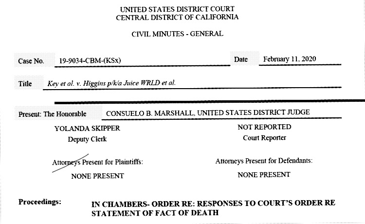 Order signed February 11th, 2020 by US District Court judge Consuelo B. Marshall