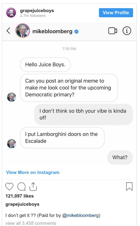 Michael Bloomberg Instagram Meme