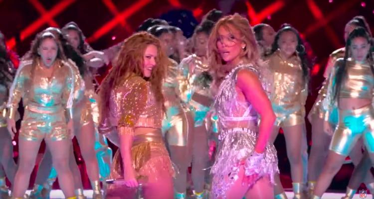 Shakira and Jennifer Lopez during Sunday's Super Bowl LIV Halftime Show.