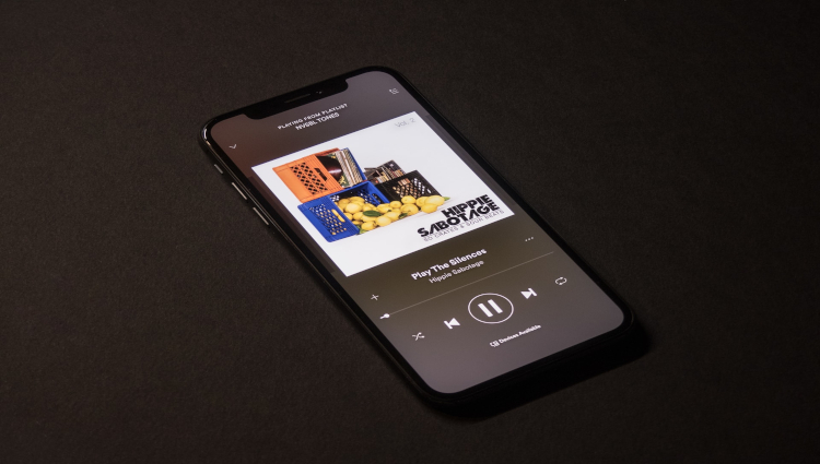 iPhone X Using Spotify