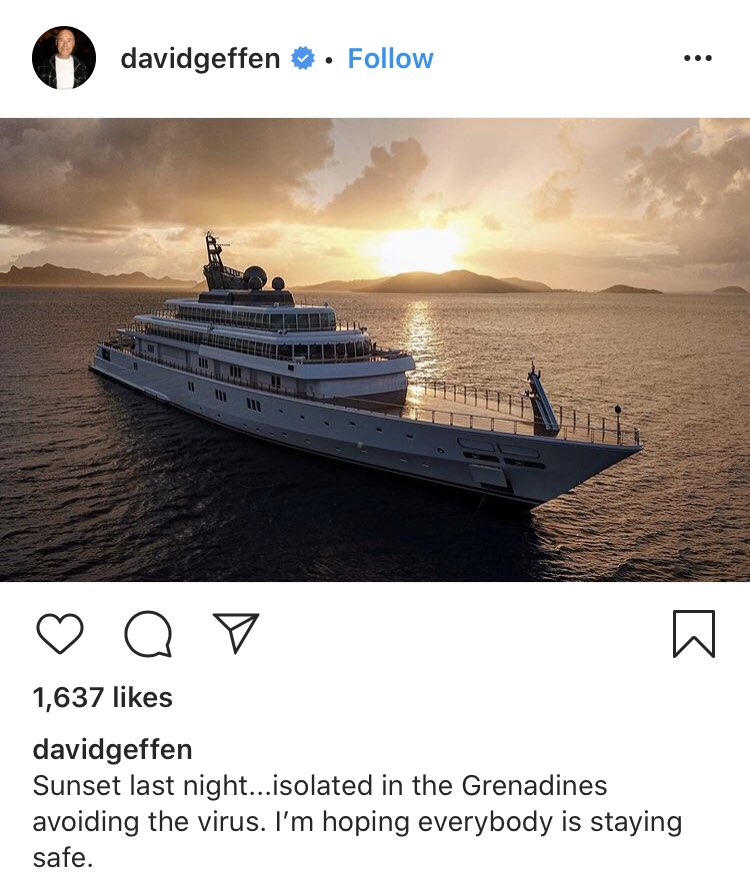 David Geffen's humblebrag featuring a drone-shot of his yacht at dusk.