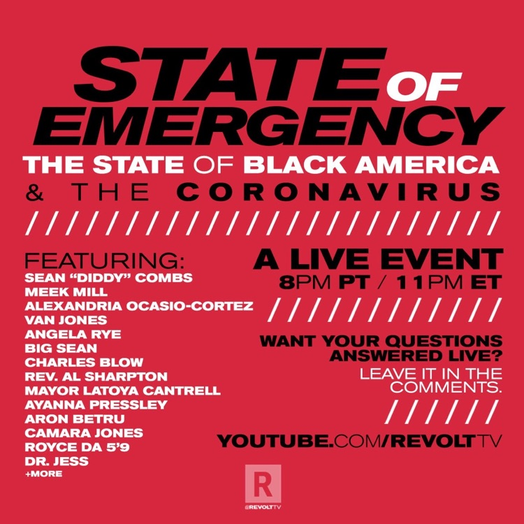 'The State Of Black America & The Coronavirus' hosted by Diddy.