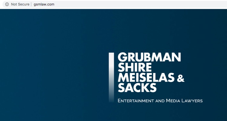Grubman Shire's website on Monday: only the masthead remains.