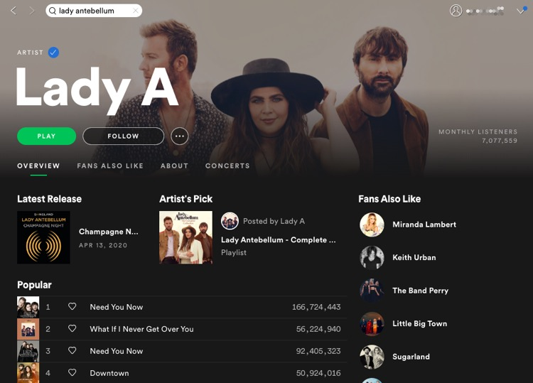 Spotify's updated page for 'Lady A,' June 11th, 2020.