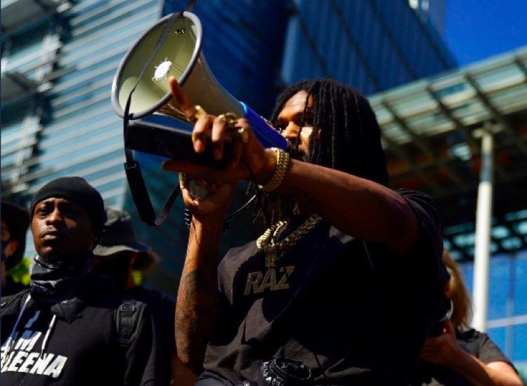 CHAZ leader Raz Simone leads a BLM rally