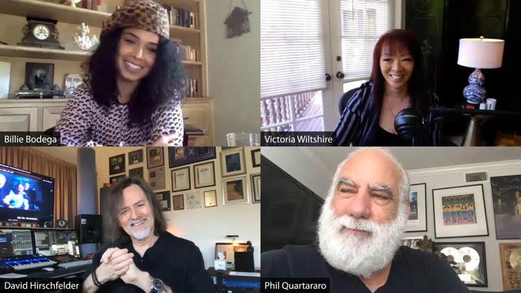 Clockwise l-r: Artist Billie Bodega, Songtradr CXO Victoria Wiltshire, former president & CEO, Virgin/Warner/EMI Phil Quartararo, Oscar-nominated screen composer David Hirschfelder.