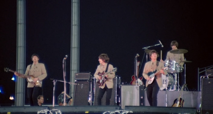 The Beatles at their famed Shea Stadium performance, from 'Eight Days a Week - The Touring Years'.