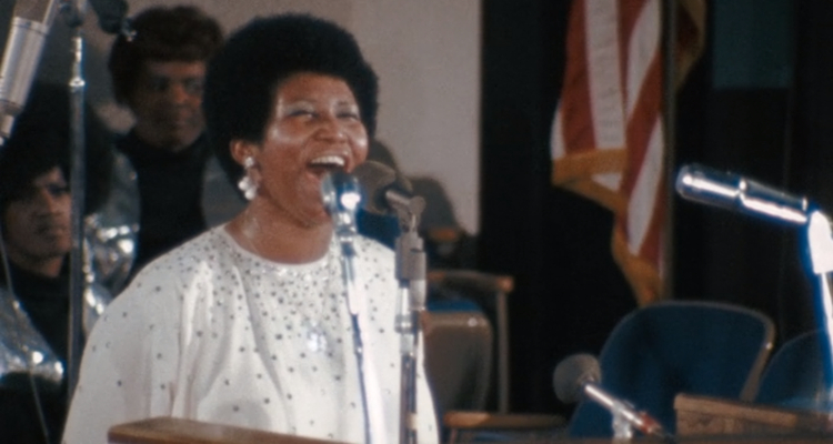 Aretha Franklin performing in 'Amazing Grace'.